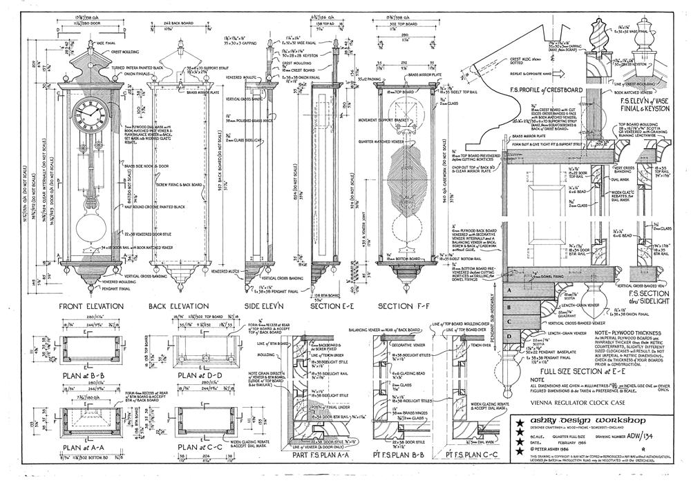 Large Vienna Regulator Clock Case Plans