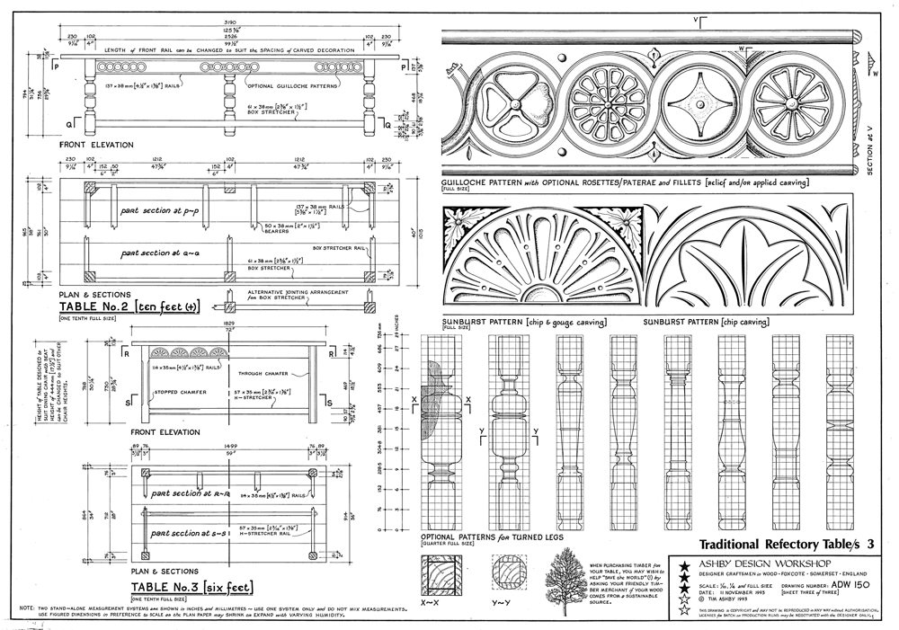 Traditional Refectory Table Plans - the PlanPack includes A1 size Plan Sheets (ADW150)